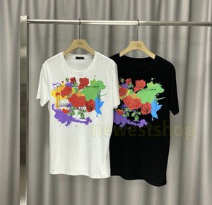 20ss Summer Luxury mens flower print t shirt Classic Simple Casual TShirts letter print t shirts Designer t shirts Women Crew Neck Tee