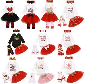 Valentino Newborn Set di abbigliamento Ragazze Love Letter ha stampato il pagliaccetto Top + Cuore Leggings + Bow Bow fascia + Tutu Gonne 4pcs / set Outfits M1005
