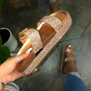 Summer Beach Bling Crystal Rome Ladies Sandals Rhinestone Platform Mixed Color Cutouts Wedges Women Sandals Shoes Woman
