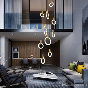 Villa Merdiven Led Kolye Işıkları Akrilik Çevreler Parlaklık Kolye Işık Ahşap Sarkıt Led Damla Işık Lamba Lamba Askıya Asmak