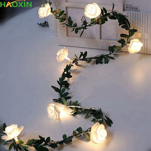 HaoXin 10 20 40leds Rose Flower led Fairy String Lights Battery Powered Wedding Valentine's Day Event Party Garland Decor Luminaria