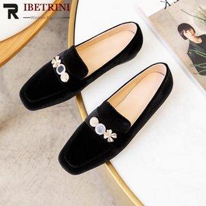 RIBETRINI molla femminile eleganti scarpe di metallo che decora donna Concise Solid slip-on Flats Women Casual tacchi bassi Flats