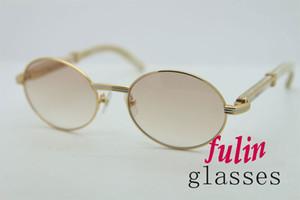 2020 Frete grátis Branco Genuine Natural chifre óculos de sol do metal Unisex 7550178 Sunglasses Redonda óculos homens marca