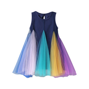 INS styles nouvelle arrivée fille robe de maille enfants arc-en-robe patchwork d'été fille élégante robe