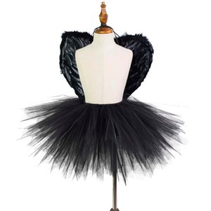 Black Fluffy Tutu Skirt with Wings Girls Cosplay Party Costume Unique TUTUS Kids Halloween Costume Photo Props