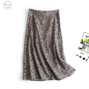 Harajuku Leopard Print Midi Skirt Women High Waist Split Long Skirt 2020 Womens Elegant Female Bottom Skirts