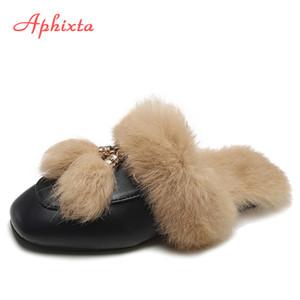 Aphixta reale Fur pantofole scarpe da donna 2019 di Mules Donne Furry pantofole inverno caldo donne dei pattini pantofole coniglio dei capelli