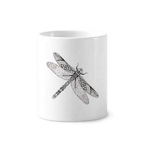 Retrato da libélula animal Esboço Escova Pen Titular Caneca branca Ceramic Cup 12 onças