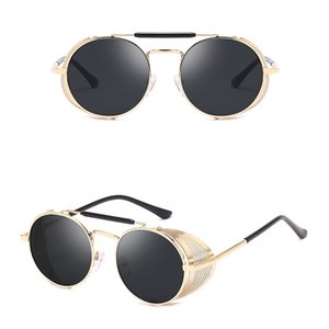 New Steam Punk Round Designer Metal Frame Women Coating Sunglasses New Men Retro Circle Festival Sunglasses Eyewear