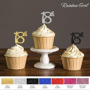 Altın / Gümüş / Siyah Glitter 18 Cupcake Toperler Onsekiz doğum günü partisi için Seçtikleri Kek Dekorasyon Yana