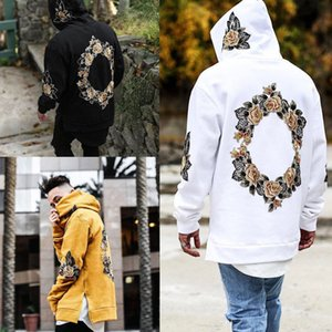 Men Flower Hoodies Spring Autumn Embroidery Design Pullovers Hooded Fashion Hi-Street Casual Loose Sweatshirts Tops