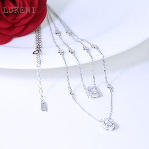 Plata LUKENI nuevo diseño personalidad de la manera S925 incrustaciones de circonio geométrico collares para las mujeres joyería y accesorios