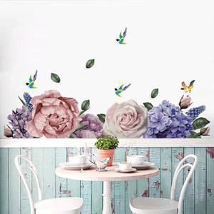 Окрашенные Пионы Сороки цветок стены наклейки Гостиная Спальня Дружественные Съемные декоративные картины Детская декор комнаты