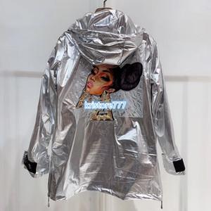 Carta de las mujeres de los hombres de la vendimia imprime en las chaquetas de gama alta de la muchacha de pista de manga larga floja de lujo Diseño rompevientos tapas de la camisa Praka Trench Coats