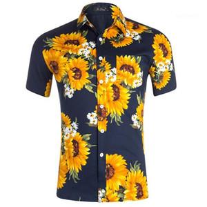Tops d'été Vêtements décontractés Hommes Styliste Tournesol imprimé Hommes Chemises manches courtes T-shirts adolescents turn-down collier