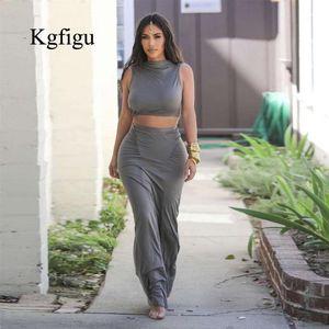 KGFIGU KIM Kardashian Серые наряды Женщины Tain Tops и наборы длинных юбок 2019 Летний 2-х кусок наряды набор юбки в две части