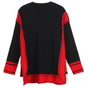 Forma-2017 Black White Patchwork Celebrity Style Camisolas ombro Botão Side Slit Marca Same estilo pulôver Mulheres DH333