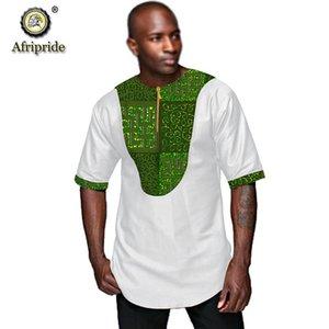 Men`s Casual africaine Shirt Dashiki Chemisier Imprimer Attire manches courtes en coton pur Taille Plus Chemises Hauts AFRIPRIDE S2012001
