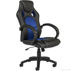 Исполнительный гоночный офис стул PU кожаный поворотный компьютерный стол с высокой спинкой синий