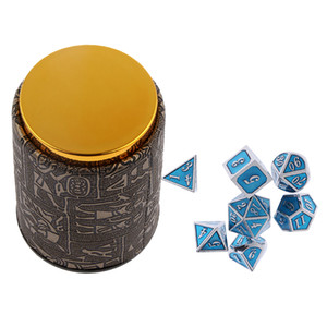 7 Set Metall Polyhedral Dice für Dungeons and Dragons DND MTG + Dice Cup #C