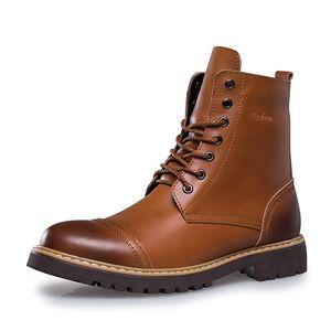 Neue Herbst Winter Mode Männer Stiefel Vintage Style Fahren Lässig Männer Arbeiten Schuh High-cut Lace-up Warme Plüsch Motorradstiefel