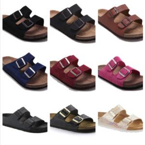 New Style Men Couro Chinelos Sandálias Mulheres Duplo Buckle Famous Brand Shoes Arizona Verão Praia de alta qualidade com Orignal Box