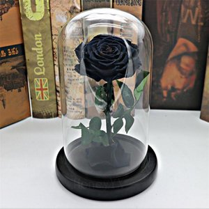 Black Forever Rose Flower Preserved Immortal Fresh Rose In Glass Vase Cloche Wedding Decorations Unique Gifts Q190429