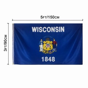 Wisconsin State Flag 3x5FT 150x90cm Polyesterdruck Indoor Outdoor hängend Hot Selling-Staatsflagge mit Messingösen fre