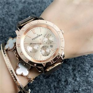 2020 nouvelle mode rose petite plaque de décoration d'or Pandora hommes et montres femmes haut de gamme de luxe bracelet en acier inoxydable qua date automatique