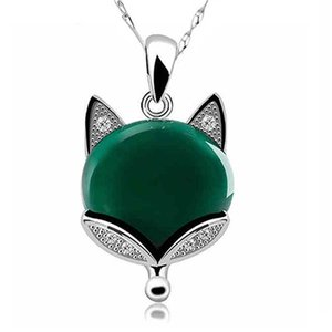 Natural Green Jade Fox Pendant Necklace 925 Silver Jadeite Chalcedony Amulet Fashion Charm Jewelry Gifts for Women Her