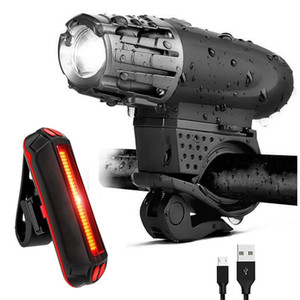Sets LED impermeável bicicleta Luz Kit USB recarregável frontal da bicicleta Luz Traseira 300LM Mountain Bike Cycle Taillinght