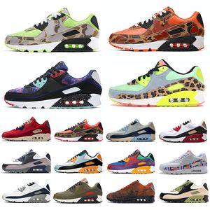 Nike air max 90 airmax klasik 90 erkek kadın koşu ayakkabıları yenilmez Lahar Kaçış Ters Ördek Camo Toplam Turuncu Obsidian Getirilen erkek eğitmenler spor sneakers 36-45
