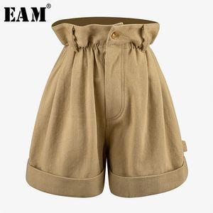 [EAM] High Elastic Waist Khaki Ruffles Pocket Wide Leg Trousers New Loose Fit Pants Women Fashion Tide Spring Summer 2020 7A045