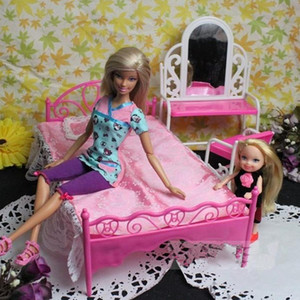 Plastic Miniature Double Single Bed Doll Chair Toy Furniture For Dollhouse Playing Diy Doll House Accessories Toys