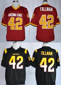Arizona State Sun Devils # 42 Pat Tillman Red 1997 Rose Bowl Maglia vintage NCAA ASU Tillman Black Maroon College Maglie da calcio S-3XL