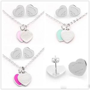 Серебро Цвет Титан нержавеющей стали Письмо T Двойное сердце серьги ожерелье для женщин Леди Мода Любовь Свадьба Марка комплект ювелирных изделий