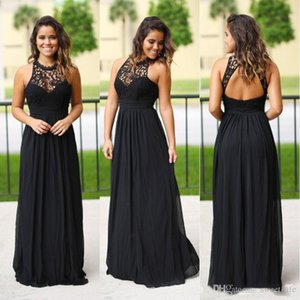Country Style Bridesmaid Dresses Black Chiffon Lace Maid of Honor Gowns A Line Halter Neck Backless Long Gothic Forest Bridesmaids