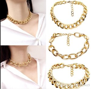 Joaillerie de design simple 24k Gold + Big Chain Collier Bijoux + Chaîne de liaison Cuban
