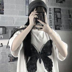 gevşek hip-hop kısa kollu üst moda Beyaz tişört kadın ins Harajuku tarzı çok yönlü Beyaz dişi ins Harajuku tarzı gevşek yönlü hi