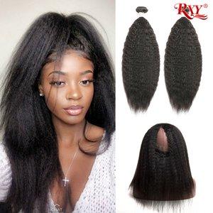 diritto crespo dei capelli 2 pacchi con fasci di capelli umani frontale con 360 frontal 360 piena del merletto chiusura frontale con fasci