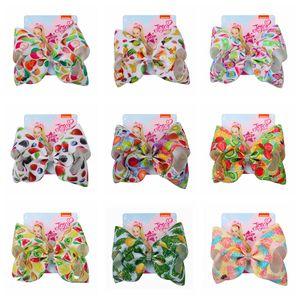 Crianças Fruta Série Bowknot Hairpin Impressão Meninas Coloridas Frutas Bow-tie Primavera Headwear Hairpin Crianças Grampos de Cabelo Bowknot DH1086