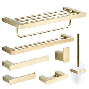 Gebürstet Goldene Badezimmer Zusatz-Edelstahl-Doppel-Handtuchhalter Toilettenbürste Wandtoilettenpapierhalter Seifenschale T200425