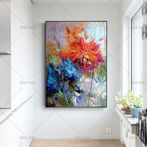 Abstract Art Pared pintada a mano pintura al óleo abstracta pinturas hermosas óleo sobre lienzo arte moderno cuadros de flores la decoración del hogar T200118