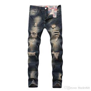 Men's Zipper Decorative Jeans Hole Nostalgic Men Straight Slim Denim Jeans Pants Men's Jeans