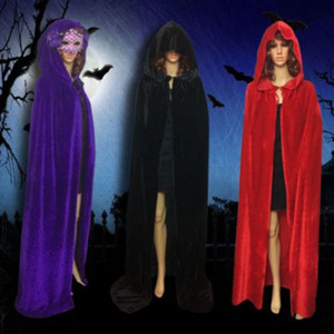 Velvet Hooded Long Cloak Cape Pagan Witch Wicca Vampire Halloween Dress Costume