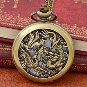 100pcs lot Hot Sell Bronze Hollowed Dragon and Phoenix play Beads Pocket Watch High Quality Quartz Gift Watch Necklace