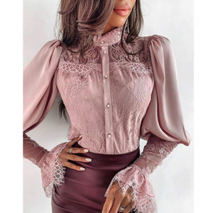 Free Shipping Women Lace Flare Sleeve Elegant Blouse Buttoned Chic Spring Fall Office Ladies Shirts Chiffon Solid Casual Female Blouses Tops