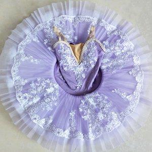 Nueva Adultos Niños honda largo bordado de ballet profesional Tutús infantiles trajes de ballet de la crepe del vestido del tutú de la bailarina para las niñas