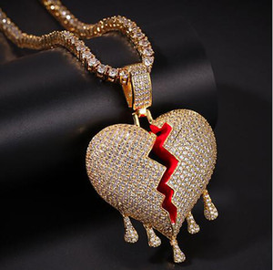14K Iced Out Diamond Drip Broken Heart Pendant Necklace Bling Micro Pavimenta Cubic Zirconia Diamanti Simulati 4mm Catena da 20 pollici Hip Hop