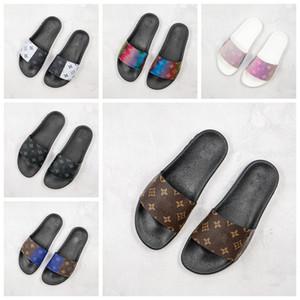 Nuovo Waterfront MULE pelle sandali di estate Stripes fioriture scorrere Pool infradito di lusso del Mens mocassini Pantofole per le donne Scuffs Beach Slides